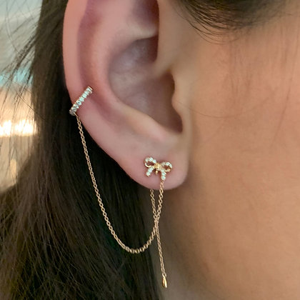 Diamond Ribbon Ear Cuff with Chain