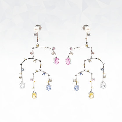 Mixed Pastel Sapphires Earrings