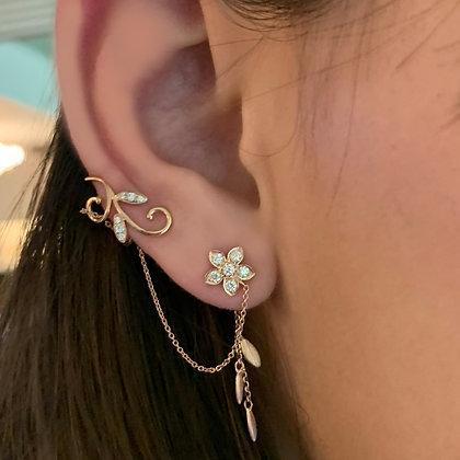 Diamond Floral Ear Cuff with Chain
