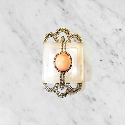 Victorian Style Moonstone and Coral Brooch
