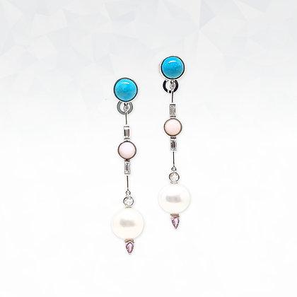 South Sea Pearl and Pink Opal Earrings