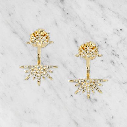 Yellow Gold Starburst Lock Earring