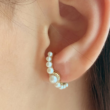 Pearl and Diamond Ear Lobe Earrings