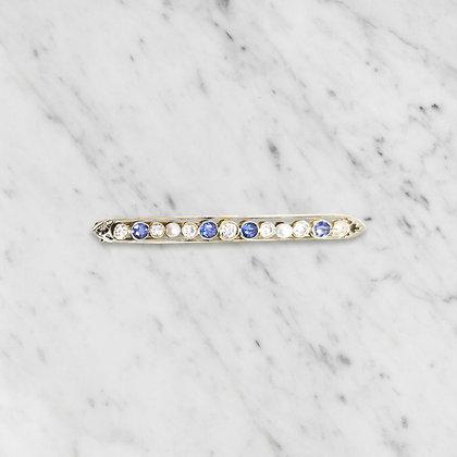 Vintage Sapphire and Diamond Bar Pin