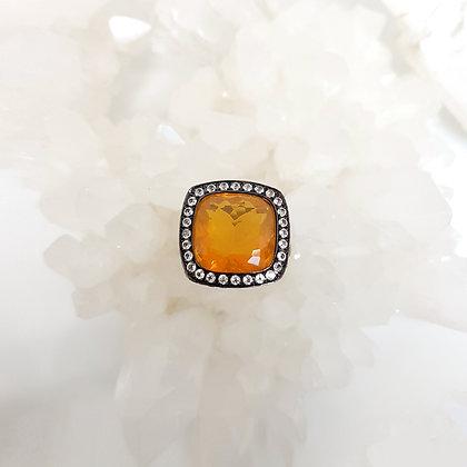 Yellow Orange Opal Ring