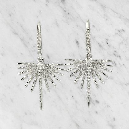 White Gold Starburst Hook Earrings