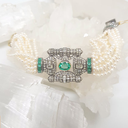 Pearl and Green Emerald Bracelet