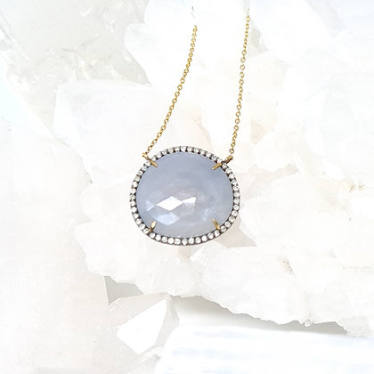 Flat Cut Gray Sapphire Pendant