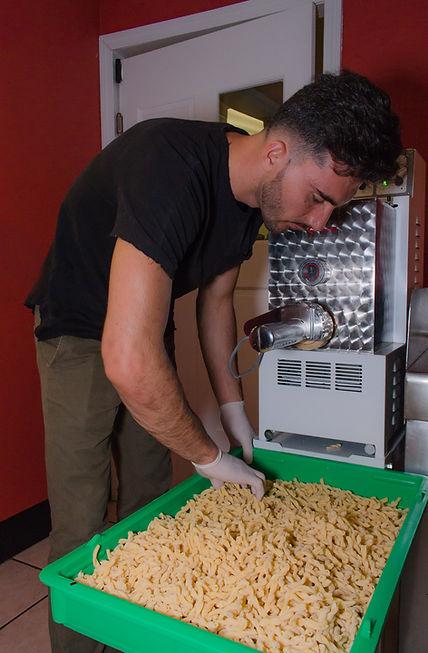 fresh pasta being made