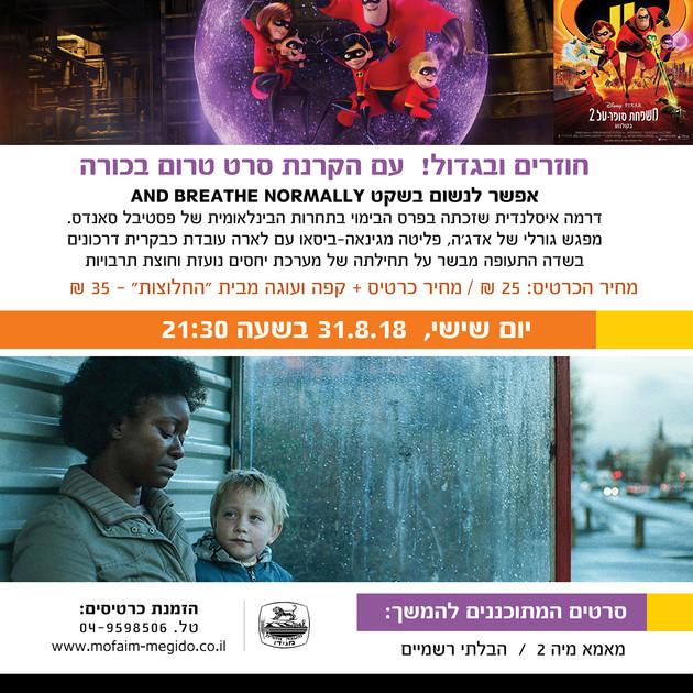 עיצוב פוסטר לפרסום סרטי חודש אוגוסט 2018, מועצה אזורית מגידו