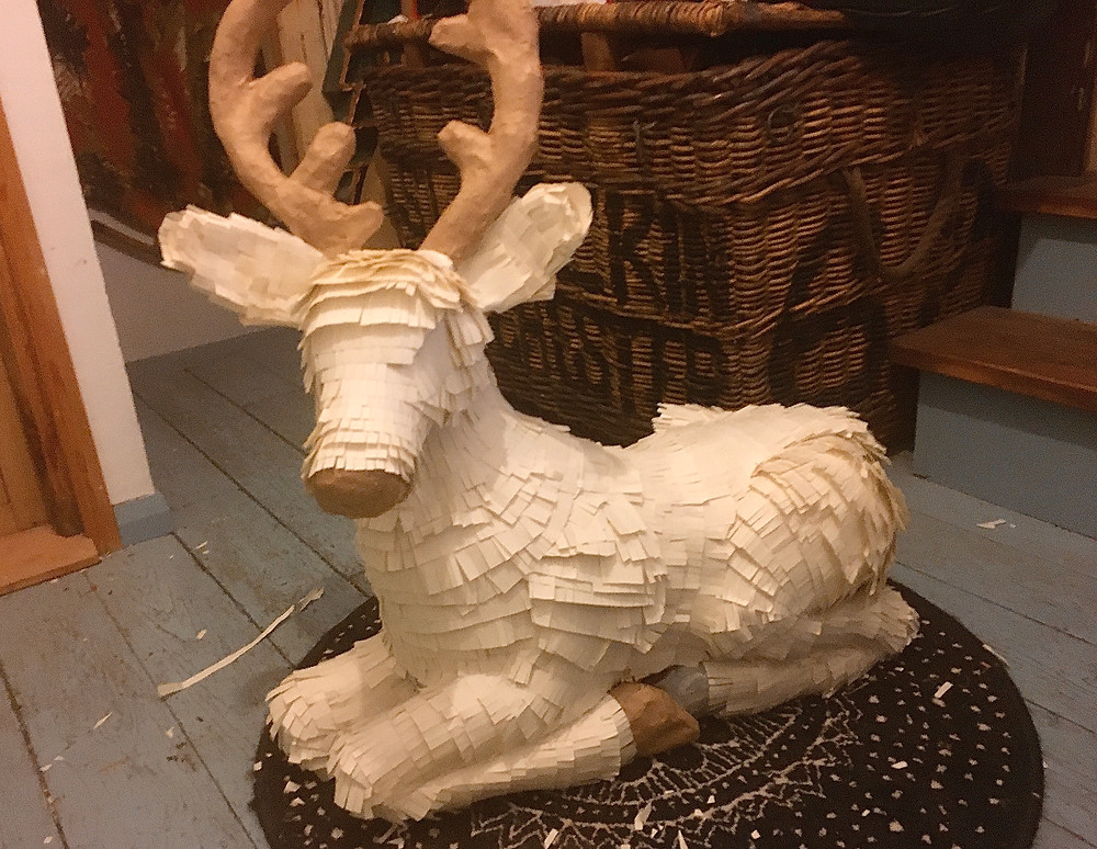 Reindeer Christmas Shop Window Sweet Shop Sustainable Eco Plastic Free Recyclable Paper