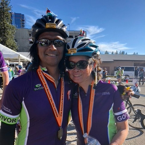 My ultimate favorite picture with Bernard…he finished strong at our AMBBR event in Lake Tahoe…such a bada**, crossed that finish line waaaayyyy before the rest of us!!! -Myrna Goekler