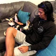 Bernard and I always had this running joke about me petting Nikki (my dog)....Bernard was showing me his technique:) -Leslie Gardner