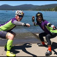 """B and I loved quoting movies and a favorite was from Point Break: """"The x-presidents are surfers"""" wooooooooh…."""" We yelled this as we tucked into our surfer pose at the lake front during Americas Most Beautiful Bike Ride in Tahoe. -Kyle Verkouteren"""