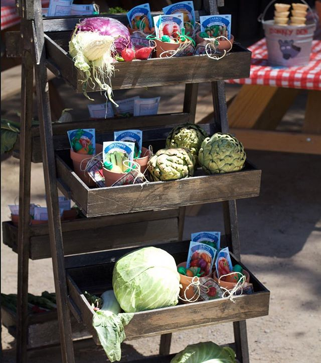 Vintage #farmersmarket stand with fresh veggies and #partyfavors at Aidan's #farmersmarket party