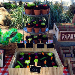 Adorable vegetable garden cupcakes for Aidan's #farmersmarket #1stbirthday at #UnderwoodFamilyFarms