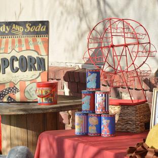 Popcorn Sign ($7)  Spool ($15) Lerge Animal Cracker Tin ($4) Tin Can Game ($10) Ferris Wheel ($15)