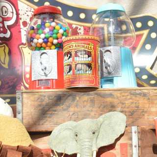 Red Gumball Machine ($15) Vintage Coca-Cola Crate ($10) Elephant Bust ($1)