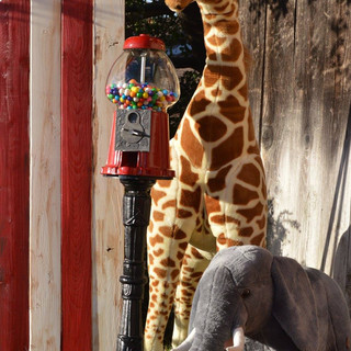 Giraffe's (3 available) $15/each Elephant ($10) Standing Gumball Machine ($15)  Striped Large Ticket Booth ($20)