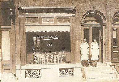 Henri Chedeville, famous Philadelphia mouthpiece maker, and his son, Marcel