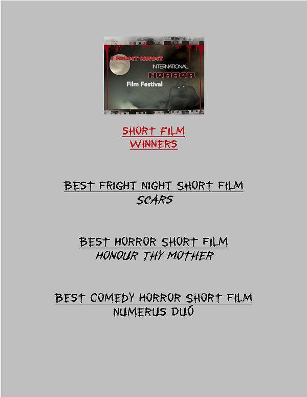 Fright Night SHORT Film WINNERS 2020 - 2