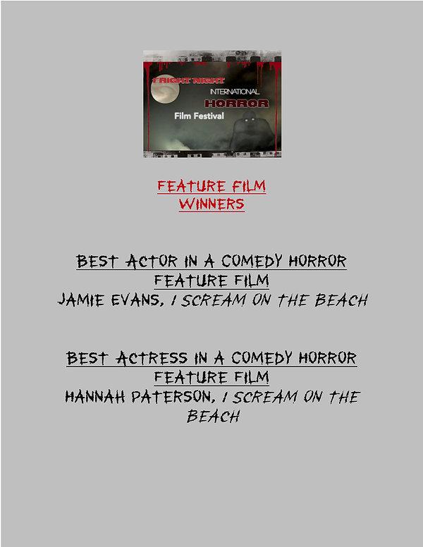 Fright Night FEATURE Film WINNERS 2020 -