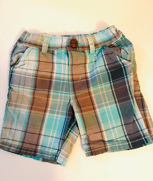 Age 3-4 NEXT green and brown checked shorts