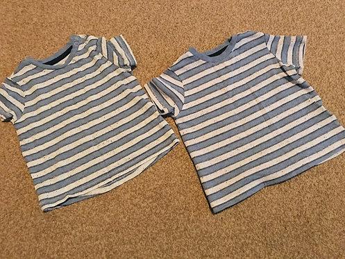 2 x 6-9m blue striped t shirts