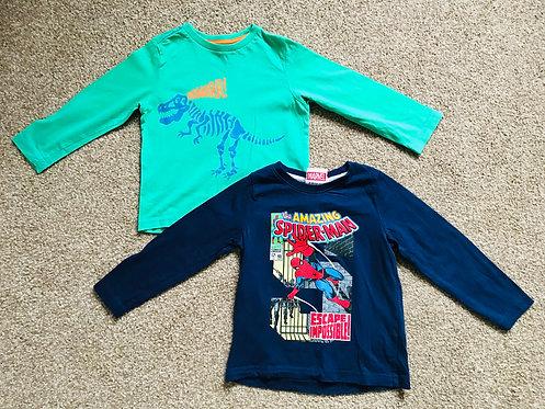 Age 2-3 Spider-Man and dinosaur long sleeve t shirt bundle