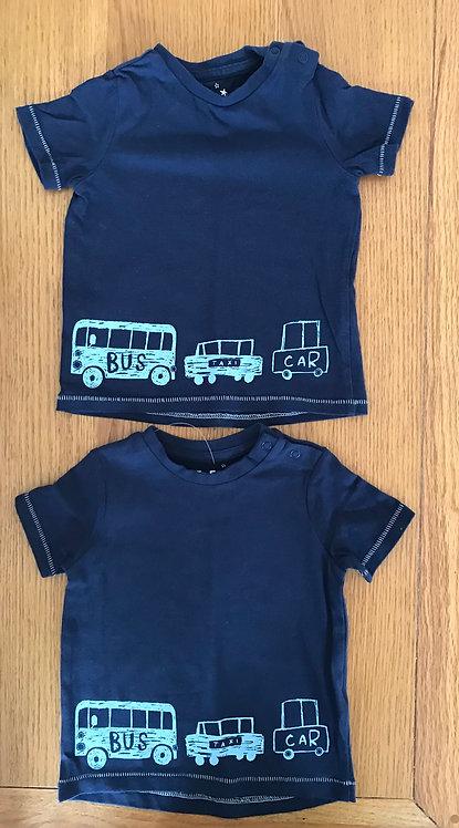 2 x 6-9m blue transport t shirts