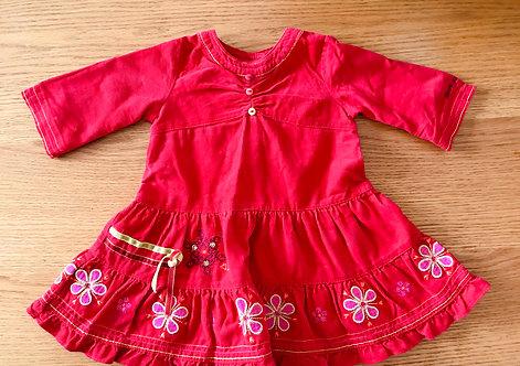 6m red cord dress