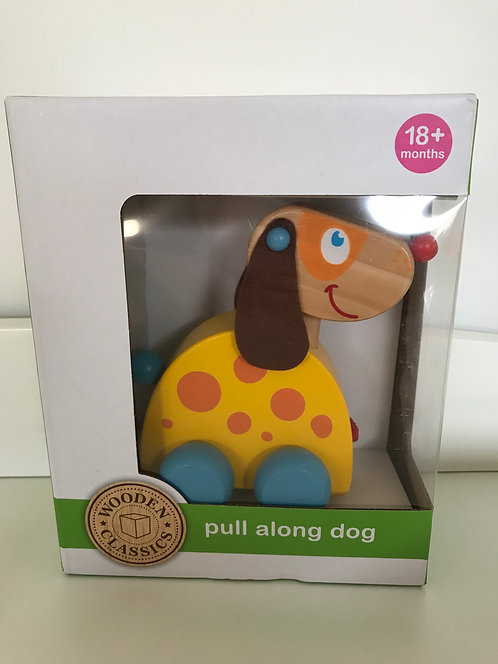 Brand new pull along wooden dog