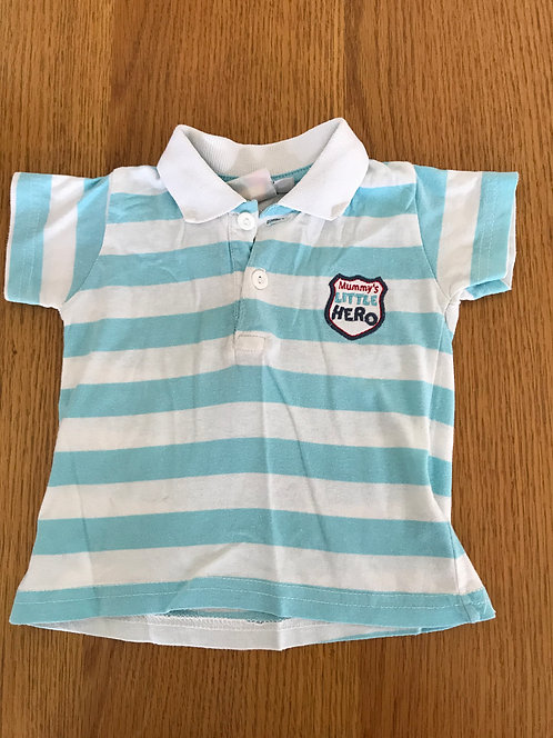 6-9m Mummy's Little Hero blue and white polo shirt