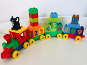 Duplo train with cat