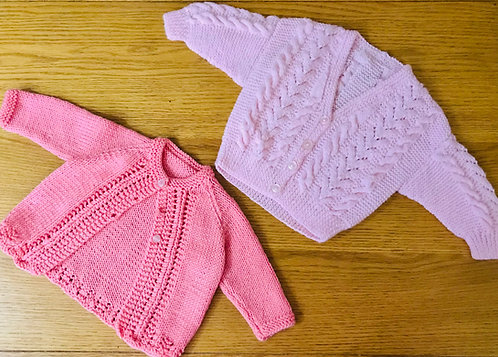 2 x up to 3m hand knitted cardigans