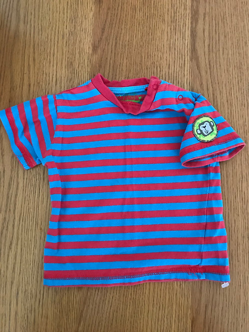 6-9m TU red and blue striped t shirt with monkey on the sleeve