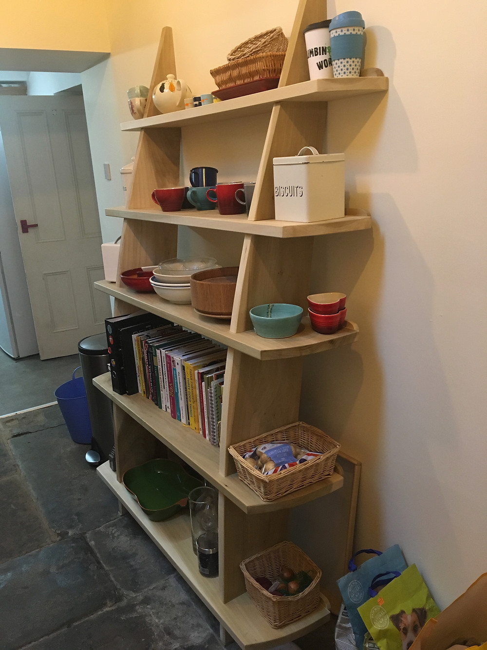 Finished leaning shelves, in tulipwood
