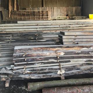 Sawn timber drying in the barn