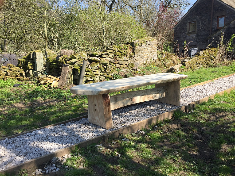 Bench with walnut pegs