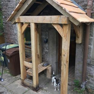Oak framed porch with cedar roof