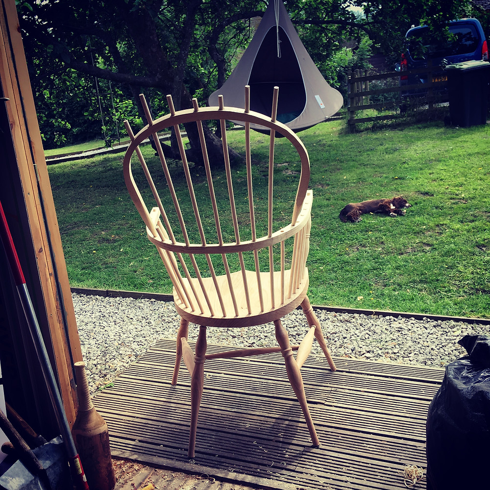 Double bow back windsor chair getting assembled in the sun - Herbert the dog is not as excited by this as me, obviously!