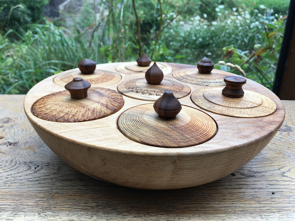 Spice Bowl in spalted Sycamore and Walnut