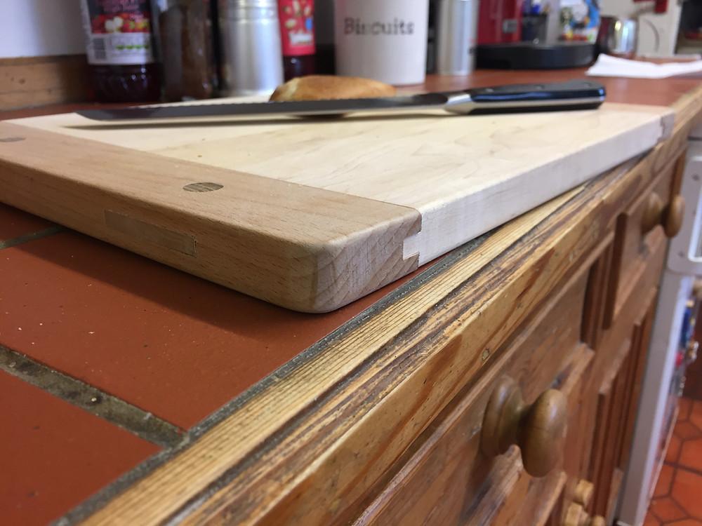 Chopping board in maple, oak and laburnum