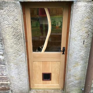 Oak Door with branch window