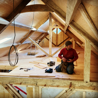 Attic space in the timber frame
