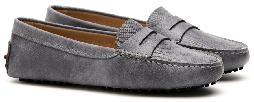 FS0 300 C LEATHER SNAKE GREY LADY MOCASSIN