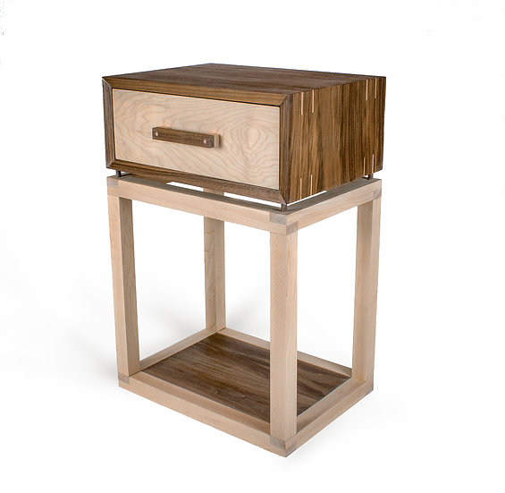 Walnut and Maple Bedside Table