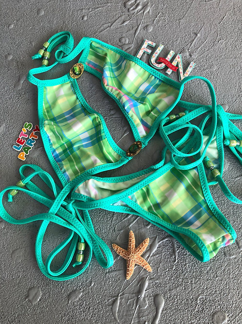 Neon Green Plaid Swim Bikini