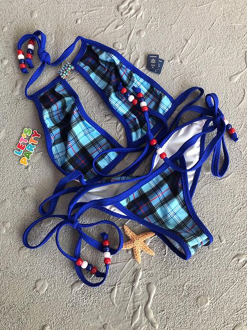 Blue Plaid Swim Bikini