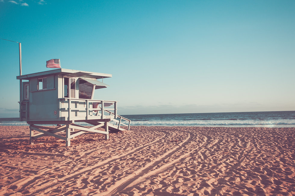 Lifeguard cabin on Santa Monica beach in